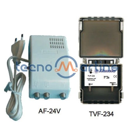 Amplificador de mastro Manata KIT-534 - TVF-234 + alimentador AF-24V - 1 entrada [1x UHF] 36dB -