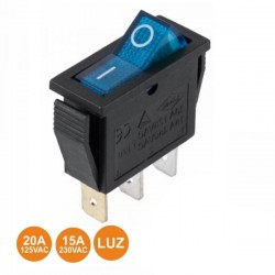 Interruptor Basculante 15a - 250v On-Off SPST C/ Luz Azul