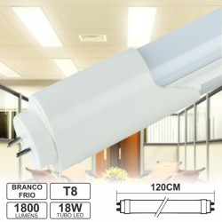 Lâmpada Tubular 18W 120cm Leds T8 Branco Frio 1800Lm Prok