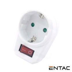 Tomada Eletrica C/ 1 Saida + Interruptor Branco - Entac