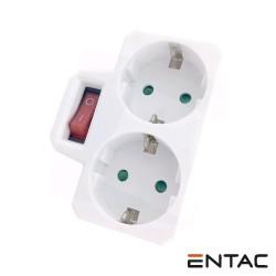 Tomada Eletrica C/ 2 Saidas + Interruptor Branco - Entac
