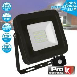 Projector LED 50w 230v Ip65 6500k 3500lm Foco C/ Sensor Preto