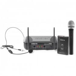 Central 2 Microfones VHF 2 Canais s/ Fios (Mão e Cabeça) - VONYX