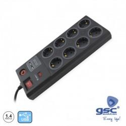 Extensão 1.4mt C/ 8 Tomada + 2 Usb + Interruptor + Protecção - GSC