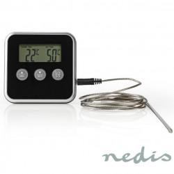 Termometro Digital C/ Sonda + Temporizador P/ Carne (0ºC .. 250ºC) - Nedis