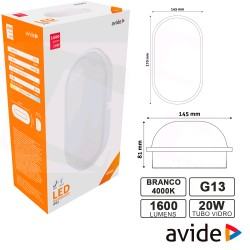 Painel Led 20w 1600lm 4000k Oval 270x145mm - Avide