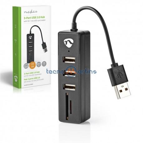 Hub Usb 1 In - 3 Portas USB 2.0 C/ Leitor Cartões SD / Micro SD - Nedis
