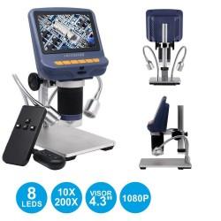 "Microscópio Pofissional Digital 4.3"" 1080P USB 10x-220x"