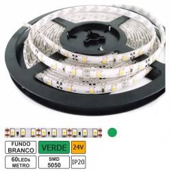 Fita 300 LEDs SMD5050 Flexivel IP20 Verde 24V (5 mts)