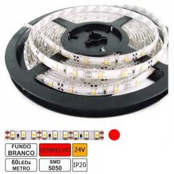 Fita 300 LEDs SMD5050 Flexivel IP20 Vermelho 24V (5 mts)