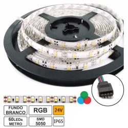 Fita de 300 LEDs SMD5050 IP65 24VDC/2A (48W) RGB - rolo de 5.0m