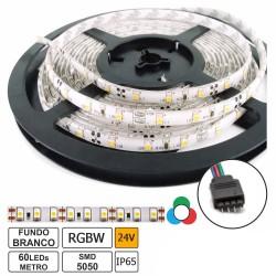 Fita de 300 LEDs SMD5050 IP65 24VDC 42W RGBW (6000K) - rolo de 5.0m