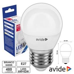 Lâmpada LED E27 Globo G45 6W 230V 6400k 480lm - Avide