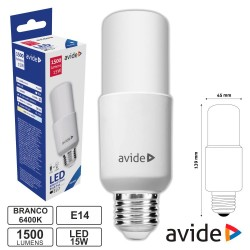 Lâmpada LED E27 Stick T45 15W 230V 6400K 1500lm - Avide