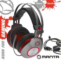 Auscultadores Gaming c/ Microfone USB/Jack - MANTA