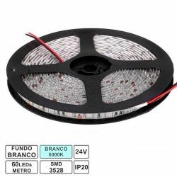 Fita 300 LEDs SMD3528 IP20 24VDC 20W 6000K Branco Frio - Rolo de 5.0m