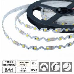 Fita de 150 LEDs (flexível/dobrável) SMD2835 IP20 12VDC 30W branco neutro 4000K - rolo de 2.5m