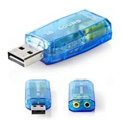 Adaptador Placa Som USB 5.1 C/ 2 Fichas Jack