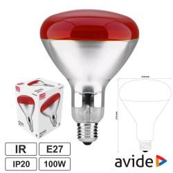 Lâmpada E27 100W Infravermelhos Topo Vermelho - AVIDE