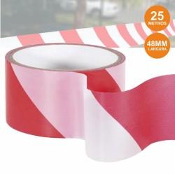 Fita de Barreira Branca e Vermelha 48mmx25m
