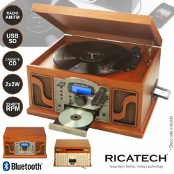 Gira-Discos 33/45/78RPM FM/Cd/Cassete/SD Card/USB - Ricatech