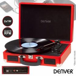 Gira-Discos 33/45/78RPM Vintage 2x1W Vermelho - DENVER