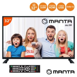 "TV LED 32"" HD 3 HDMI USB Dvb-T/C MANTA"