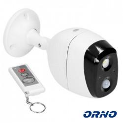 Mini Alarme s/ Fios (IP44) c/ Sensor Detector de Mov. PIR + Sirene + Lampada LED + Comando - ORNO