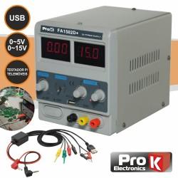 Fonte de Alimentação Digital 0-15v / 0-2a C/USB - PROK