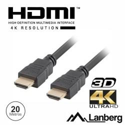 Cabo Hdmi (HDTV) M/M 20mt 2.0 Preto - Lanberg