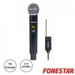 Microfone S/ Fios Uhf De Mão C/ Receptor Jack - Fonestar