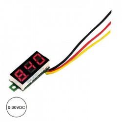 """Voltimetro 0-30vdc LED Digital 0.28"""" Vermelho"""