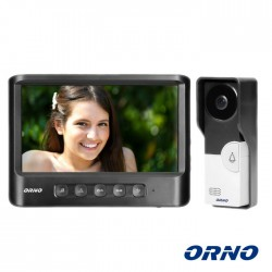 "Video Porteiro Lcd 7"" C/ Display Unifamiliar Preto - Orno"