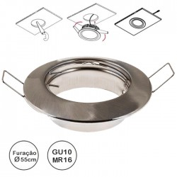 Aro redondo fixo com mola para lâmpadas GU10/MR16 Ø80mm (Ø55mm) - aço escovado