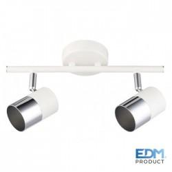 Projector Foco Gu10 Orientável P/ 2 Lampada Branco / Prata - EDM