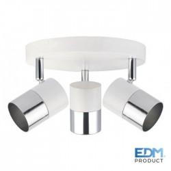 Projector Foco Gu10 Orientável P/ 3 Lampada Branco / Prata - EDM