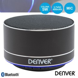 Coluna Bluetooth Portátil 3W SD/Bat/LED Preto - Denver