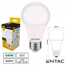 Lampada Led E27 G60 Globo 10w 6400k 820lm - Entac