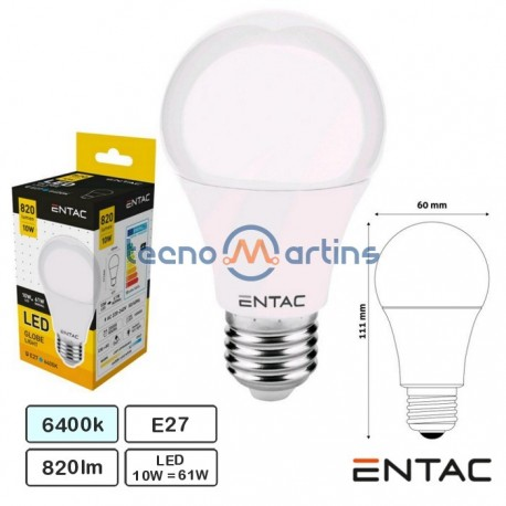 Lampada Led E27 10w 6400k 820lm G60 Globo - Entac