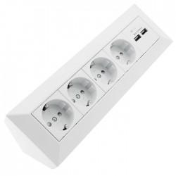Tomada Electrica Canto (90º) C/ 4 Saídas + 2x USB S/ Cabo 230v 3600w Branco