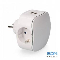 Ficha Tripla 250v 16A C/ 2x USB 2100mAh - EDM