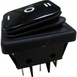 Interruptor basculante 3 posições estáveis - ON-OFF-ON - 250VAC 16A IP65 (6 pinos) - preto
