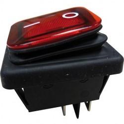 Interruptor basculante 2 posições estáveis - ON-OFF - 250VAC 16A IP65 (4 pinos) - luminoso vermelho