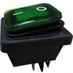 Interruptor basculante 2 posições estáveis - ON-OFF - 250VAC 16A IP65 (4 pinos) - luminoso verde