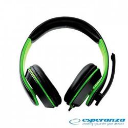 Auscultadores C/ Microfone (Headset) Gaming Verde - Esperanza