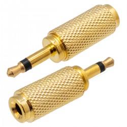 Ficha Adapt. Jack 3.5mm Macho Mono / Jack 3.5mm Fêmea Stereo - Dourado