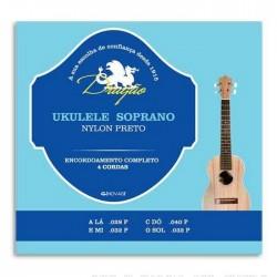 Jogo de 4 Cordas P/ Ukulele Soprano Nylon Preto - Dragão