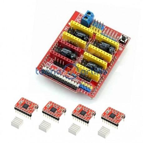 Kit Desenvolvimento CNC C/ Shield CNC V3 + 4 Drivers A4988 P/ Arduino