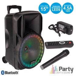 """Coluna Amplificada 15"""" USB/FM/BT/SD/Bat Vhf Preta 800W - PARTY"""