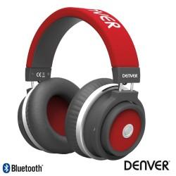 Auscultadores BLUETOOTH S/ Fios AUX / MIC Vermelho - Denver